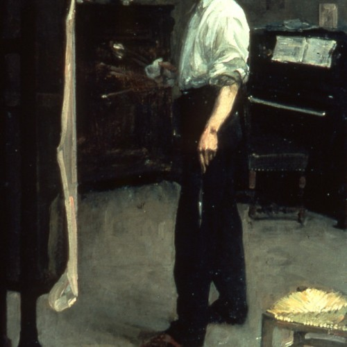 Portrait of artist standing before easel 1901